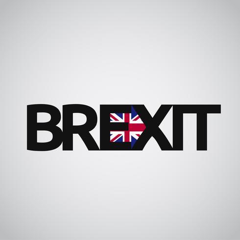 Brexit-tekst met Britse vlag en een pijl, vector