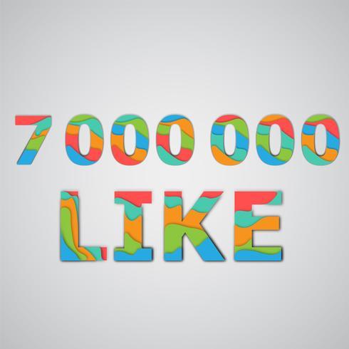 Een aantal likes gemaakt door kleurrijke gelaagde karakters, vectorillustratie vector