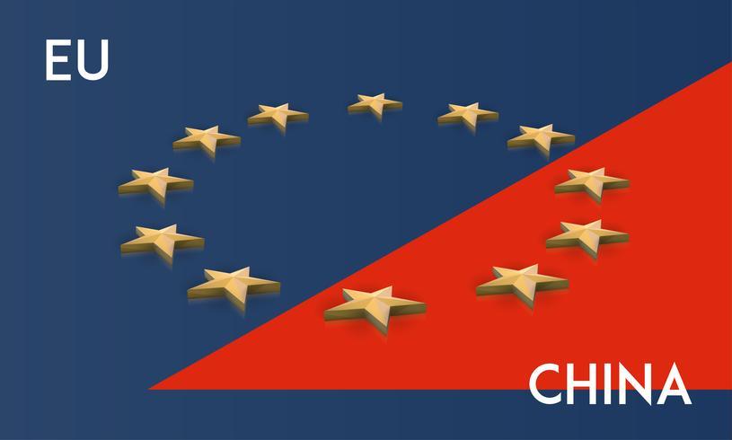 Europese Unie en China vlag samengevoegd in één, vector