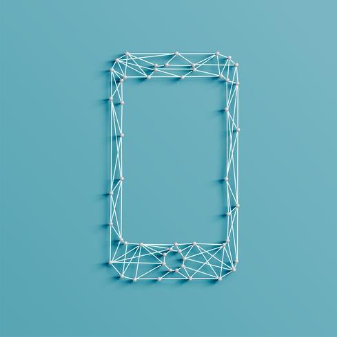Realistische illustratie van een mobiel telefoonpictogram dat door spelden en koorden, vector wordt gemaakt