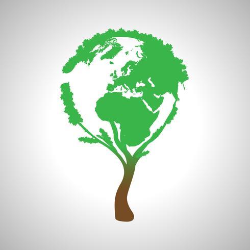 De wereldkaart van de bol op een boom, vector