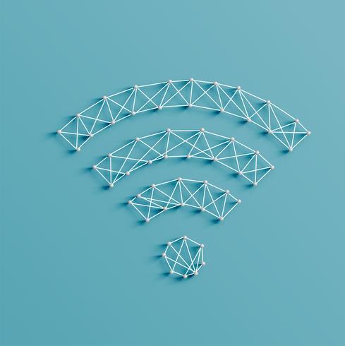 Realistische illustratie van een wifipictogram dat door spelden en koorden, vector wordt gemaakt