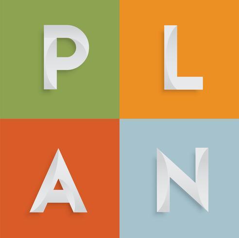 'PLAN' vierletterwoord voor websites, illustratie, vector