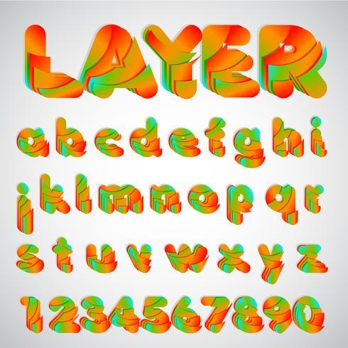 Gelaagde kleurrijke lettertype, vectorillustratie vector