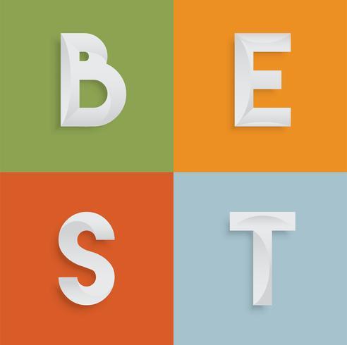 'BESTE' vierletterwoord voor websites, illustratie, vector