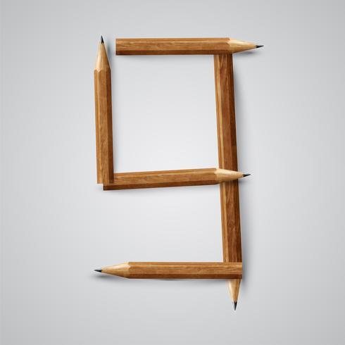 Karakter van potloden van een gezet, vectorillustratie wordt gemaakt die vector