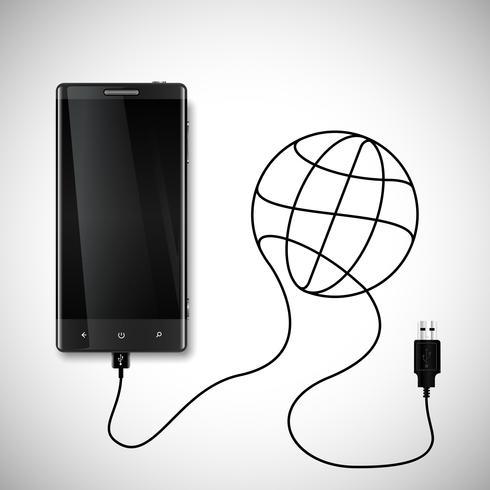 Mobiele telefoon met USB-aansluiting vector