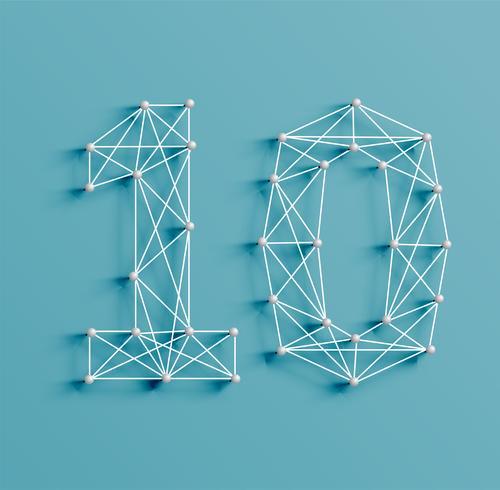 Een nummer gemaakt door pinnen en lijnen, 3D en realistisch, vector