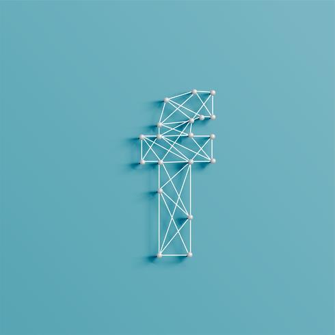 Een personage gemaakt door pinnen en lijnen, 3D en realistisch, vector
