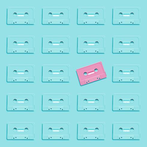 Pastelkleur retro realistische cassette op vlakke achtergrond, vectorillustratie vector