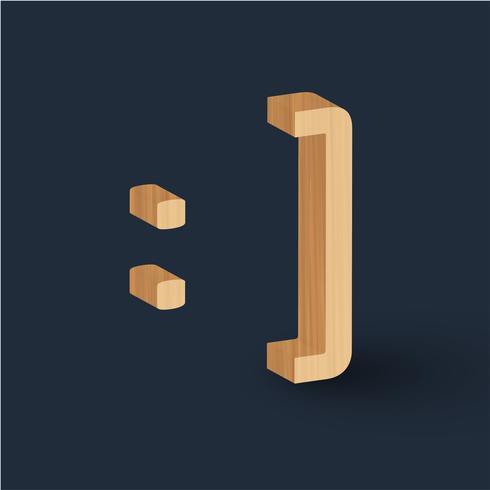 3D houten doopvontkarakter emoticon, vector