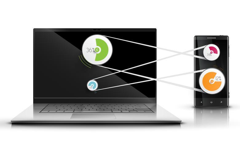 Laptop en mobiele telefoon die, vector samenwerken