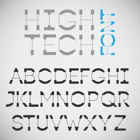 High-tech lettertype, vector