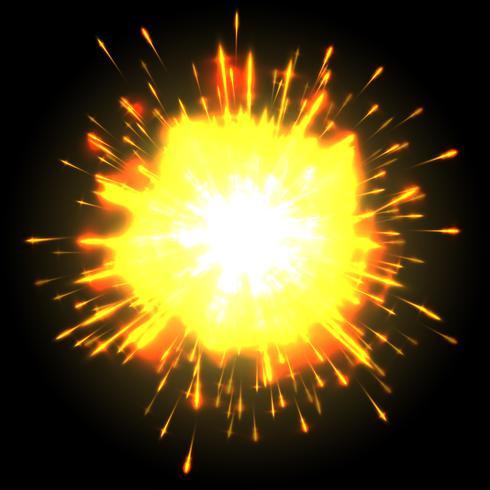 Krachtige explosie op zwarte achtergrond, vector