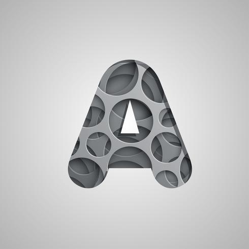 Gelaagde 'hole' karakter van een lettertype, vector