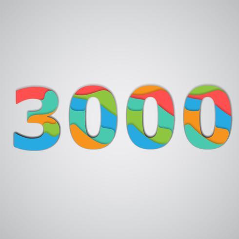 Kleurrijk papercut gelaagd aantal, vector