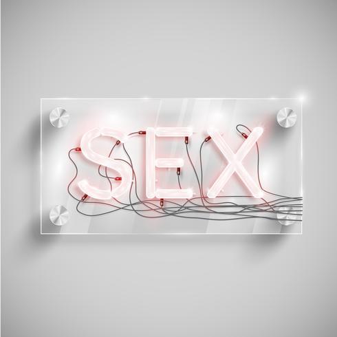 'Sex' achter een glazen tafel, vector