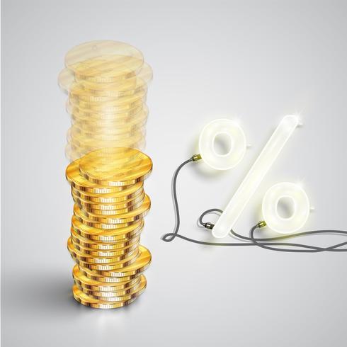 Realistische munten met neon percentage, vectorillustratie vector