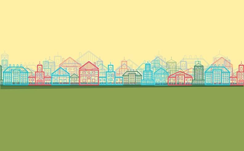 Platte ontwerp stad, vector