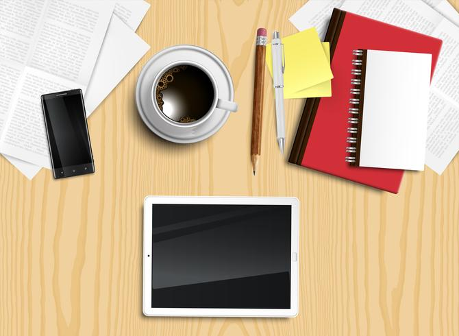 Realistisch bureau met verschillende voorwerpen, vectorillustratie vector