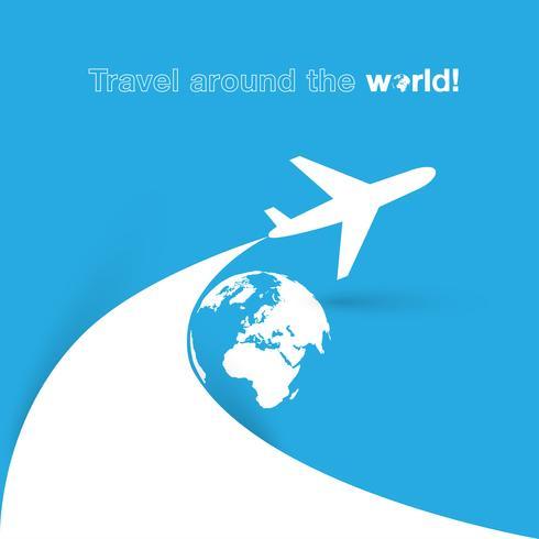 Reis rond het World Plane-pictogram vector