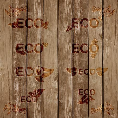 Eco ondertekent bevels op hout, vector