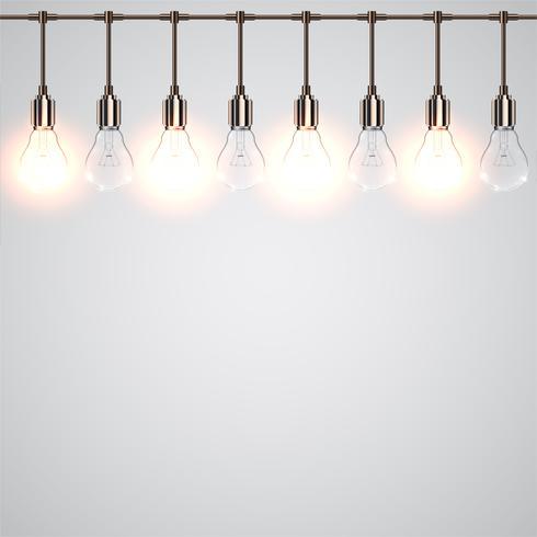 Realistische lightbulbs die hangen en werken, vector