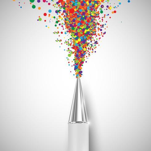 Een pen met kleurrijke vormen, vector