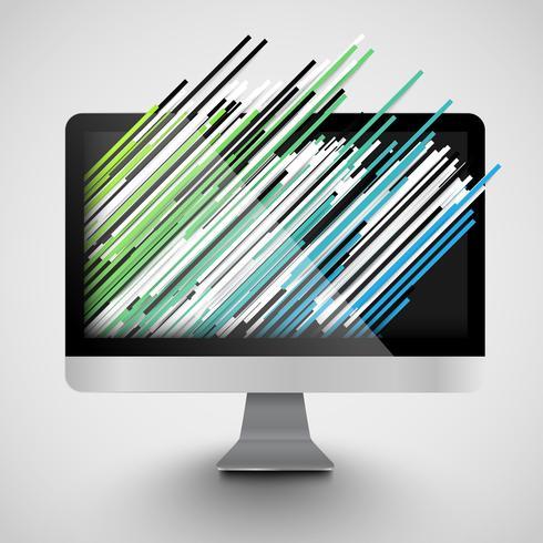 Een computer met abstracte en kleurrijke stegen, vector