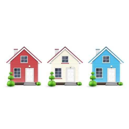 Drie soorten huizen, vector
