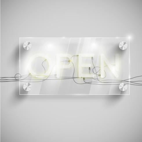 'Open' achter een glazen tafel, vector