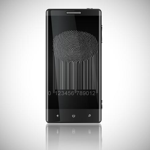 Bedrijfs Zwarte Slimme Telefoon met Vingerafdruktoegang, Vector