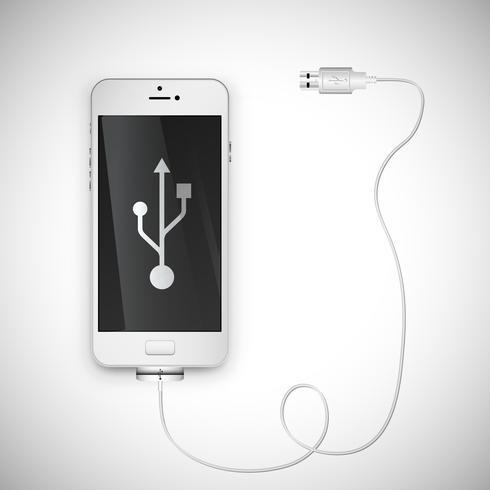 Realistische smartphone met draad, vectorillustratie vector