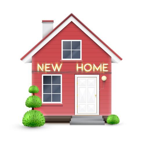 Realistisch huis met teken 'NEW HOME', vector