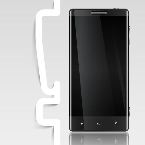 Zwarte gescreende telefoon met een uitroepteken, vector