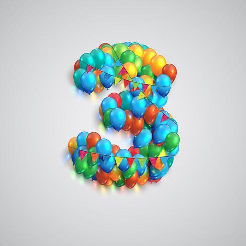 Nummer gemaakt door kleurrijke ballonnen, vector