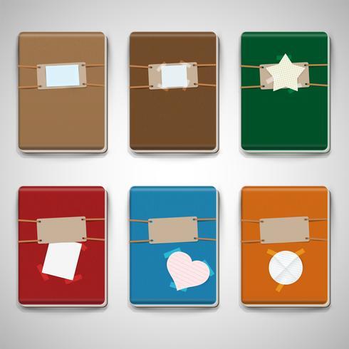 Zes verschillende kleurrijke notitieboekjes vector