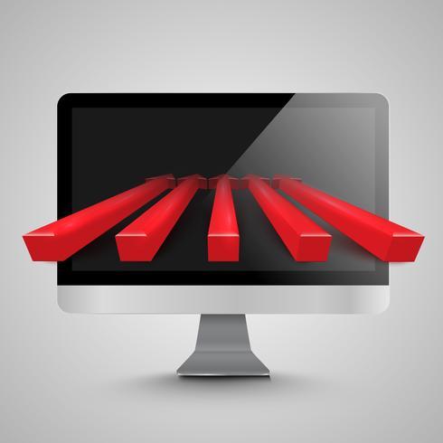 PC en rode pijlen, vector