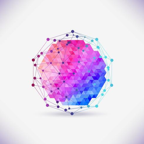 Abstract geometrisch rooster, de reikwijdte van moleculen, de moleculen in de cirkel. vector
