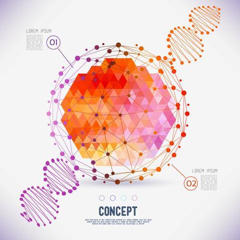 Abstract concept geometrisch rooster, het werkingsgebied van molecules, DNA-ketting vector