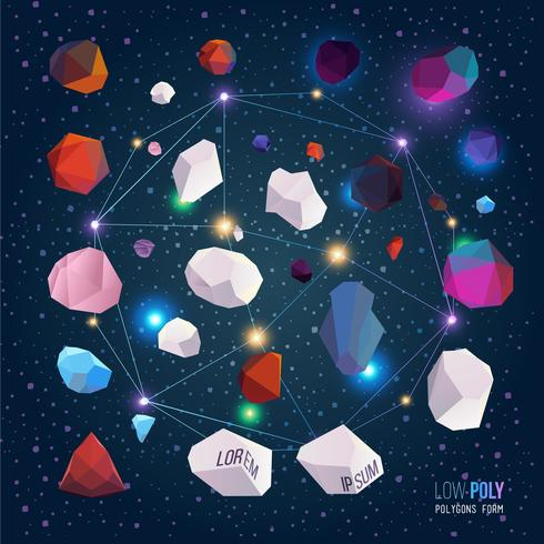 Laag poly polygonen vormen. Vector abstract concept.