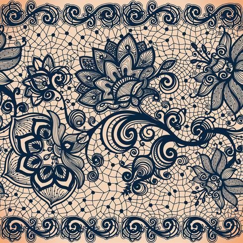 Vector Abstract horizontaal naadloos patroon met kant