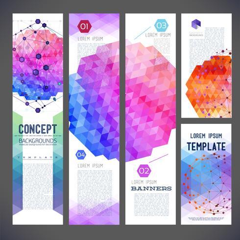 Abstracte ontwerpbanners, bedrijfsthema, vliegerdruk, Webontwerp vector