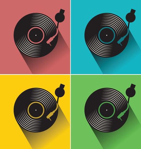 Black vinyl record disc platte concept vectorillustratie vector