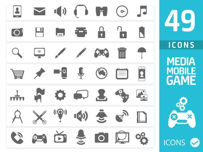 Media Icon set (Set van 50 kwaliteitspictogrammen) vector