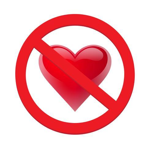 Verbied liefdehart. Symbool van verboden en stop liefde. Vectorillustratie - Vector