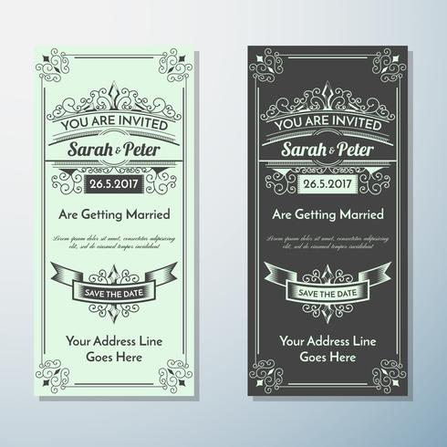 Huwelijksuitnodiging Vintage flyer achtergrond ontwerpsjabloon vector