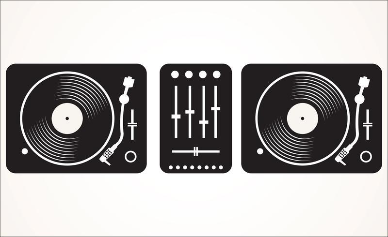 Eenvoudige zwart-witte DJ die draaischijf vastgestelde vectorillustratie mengt vector
