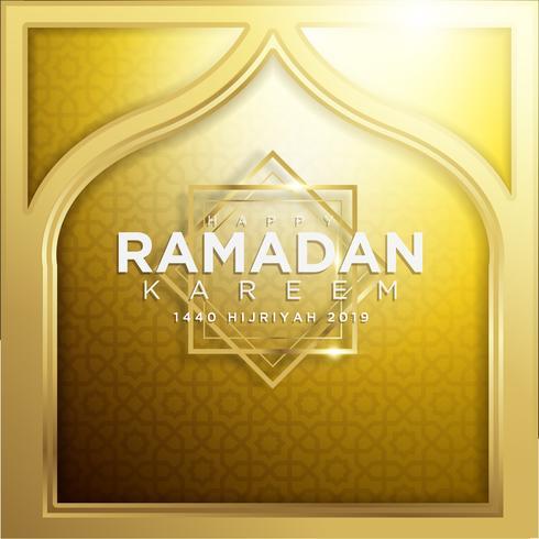 Gouden Ramadan Kareem achtergrond 1440 Hijr met Ramadan Kareem 3d beletteringstekst vector