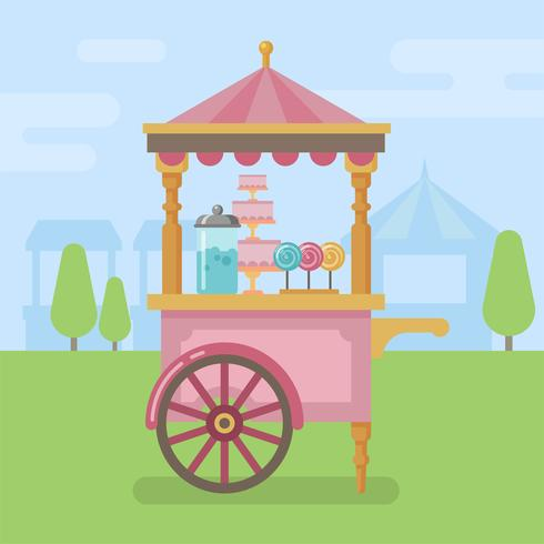 Candy kar vlakke afbeelding vector